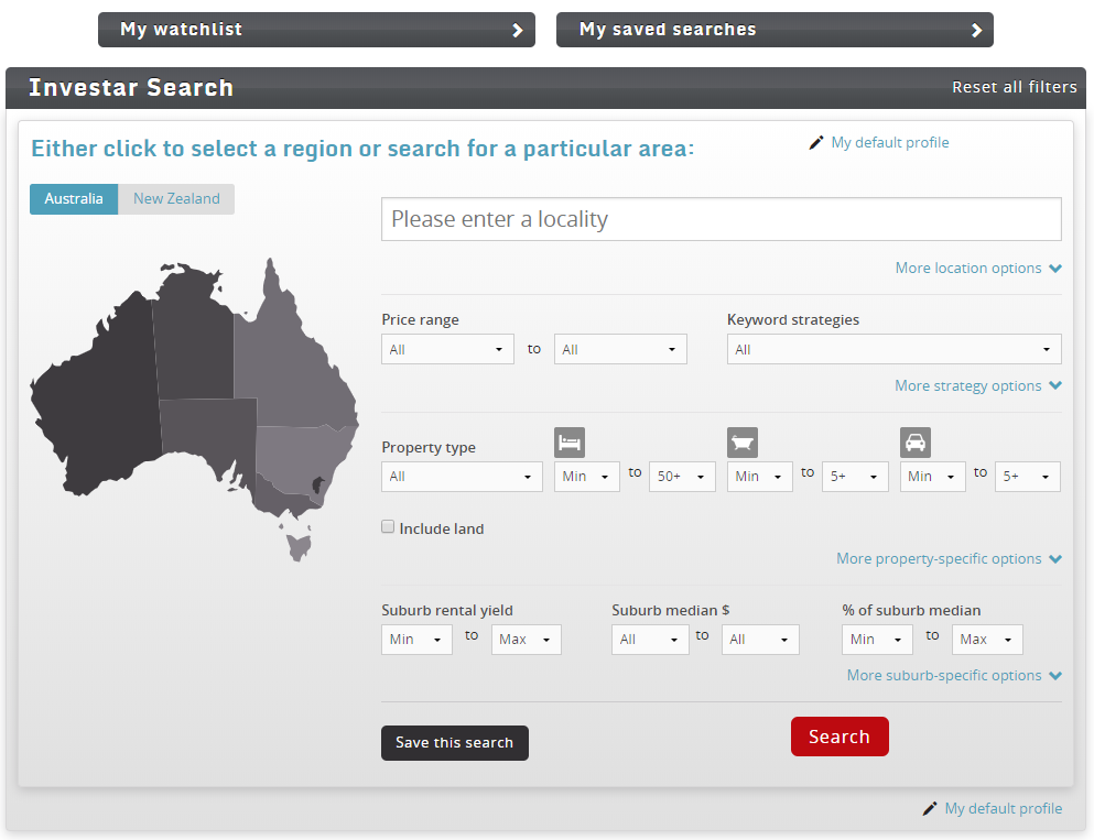 Investar Search Dashboard